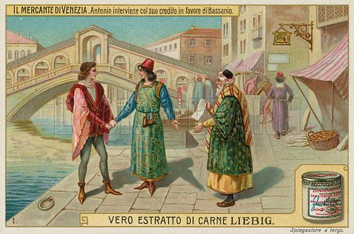 Antonio Intervenes on Bassanio's Behalf with Shylock.  Liebig card, late 19th century/early 20th century.
