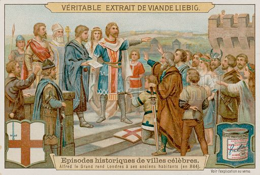 King Alfred the Great Turns the Danes Out of London in 884 AD Liebig card, late 19th century/early 20th century.