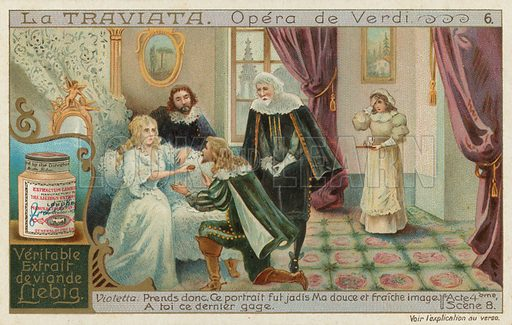 Rodolphe Asks For Forgiveness From Violetta Who Is Dying.  Liebig card, late 19th century/early 20th century.