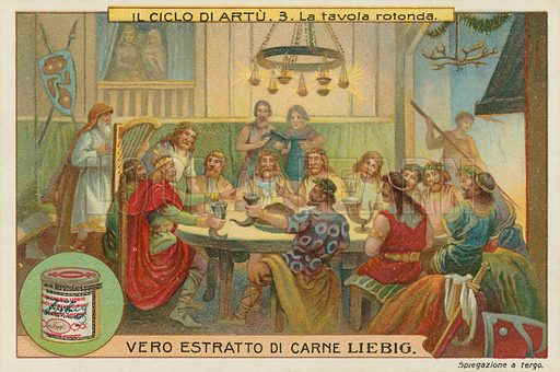 King Arthur's Round Table.  Liebig card, late 19th century/early 20th century.