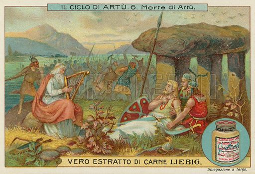 The death of King Arthur.  Liebig card, late 19th century/early 20th century.