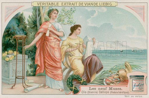Clio (history) and Calliope (heroic poetry).  Liebig card, late 19th century/early 20th century.