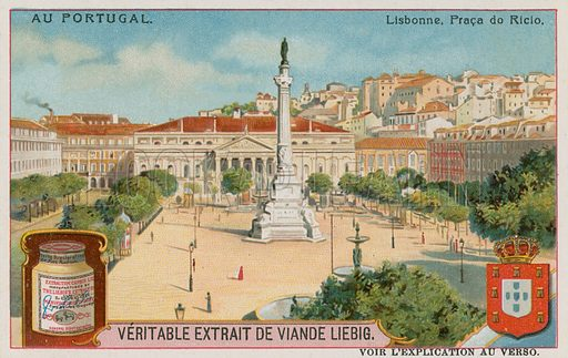 Lisbon, the Praca do Rossio.  Liebig card, late 19th century/early 20th century.