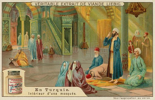 The inside of a Turkish mosque.  Liebig card, late 19th century/early 20th century.