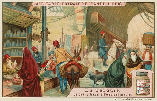 The Great Bazaar in Istanbul.  Liebig card, late 19th century/early 20th century.
