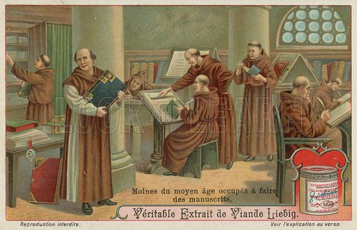 Monks copying books for sale in the Middle Ages. Liebig card, late 19th century/early 20th century.