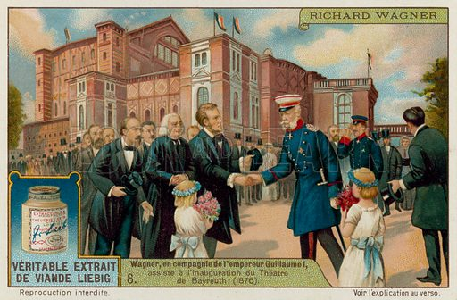 Wagner and Kaiser Wilhem I open the Bayreuth Theatre in 1876. Liebig card, late 19th century/early 20th century.