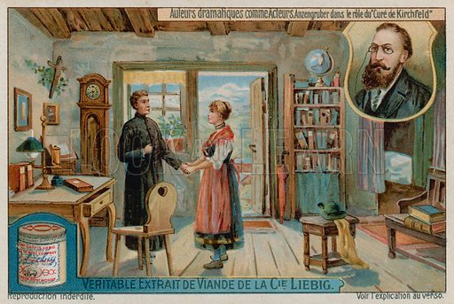 Ludwig Anzengruber in Der Pfarrer von Kirchfeld (the Priest of Kirchfield).  Liebig card, late 19th century/early 20th century.