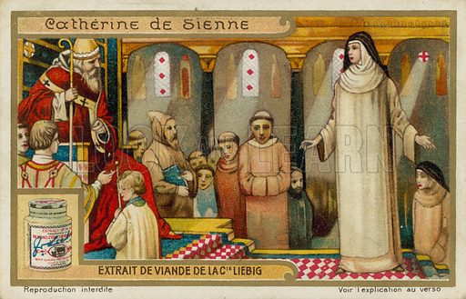 St Catherine of Siena. Liebig card, late 19th century/early 20th century.