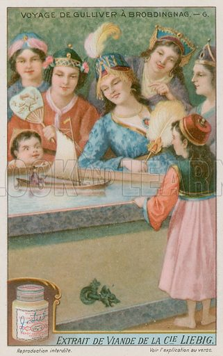 Gulliver in a toy boat. Liebig card, late 19th century/early 20th century.