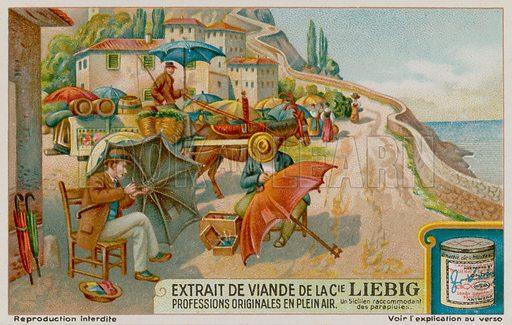 Sicilian craftsmen make umbrellas. Liebig card, late 19th century/early 20th century.