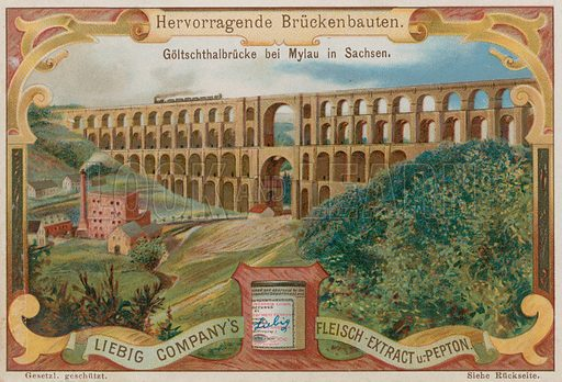 The Goltzsch Viaduct Railway bridge, Mylau, Germany.  Liebig card, late 19th century/early 20th century.