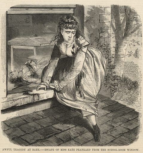 Awful tragedy at Bath; Escape of Miss Kate Prankard from the schoolroom window; from The Days' Doings, 3 September 1870.