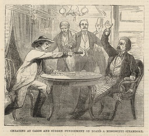 Cheating at cards and sudden punishment on board a Mississippi steamboat; from The Days' Doings, 24 September 1870.
