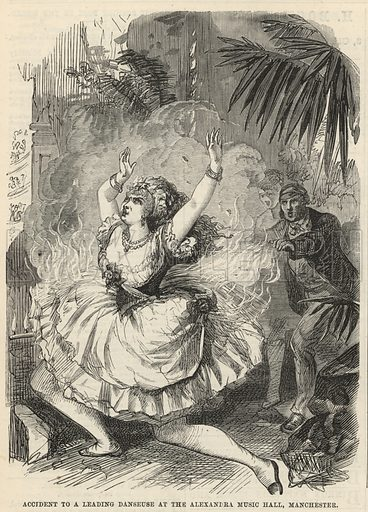Accident to a leading danseuse at the Alexandra Music Hall, Manchester; from The Days' Doings, 1 October 1870.