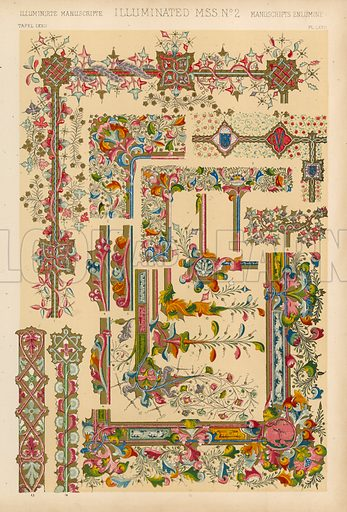 Illuminated MSS. Illustration for The Grammar of Ornament by Owen Jones (Day and Son, c 1880).