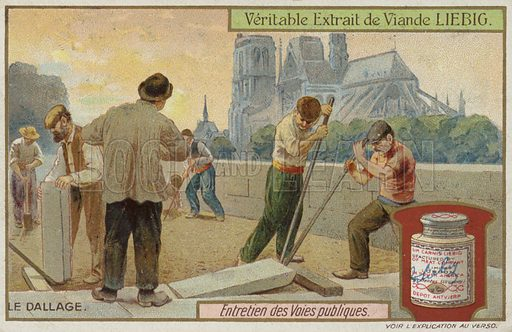 Workers laying paving stones. Trade card issued by the Liebig