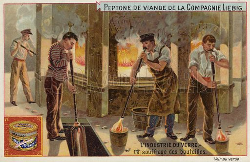 Liebig card featuring the glass industry