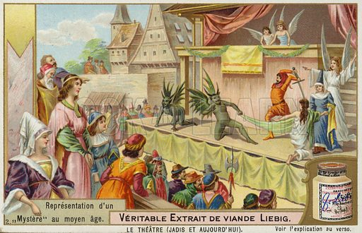 Representation of a medieval mystery. Trade card issued by the Liebig's Extract of Meat Company.
