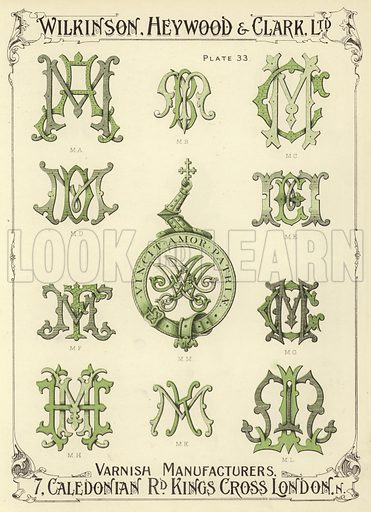 MA, MB, MC, MD, MM, ME, MF, MG, MH, MK, ML. Illustration for a catalogue of Monograms and Heraldic Designs by Wilkinson, Heywood & Clark Ltd, 7 Caledonian Road, London N, early 20th century.