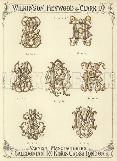 BAG, BAH, BAJ, PQR, BAK, BAL, BAM Illustration for a catalogue of Monograms and Heraldic Designs by Wilkinson, Heywood & Clark Ltd, 7 Caledonian Road, London N, early 20th century.