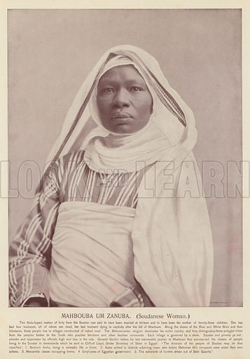 Mahbouba Um Zanuba, Soudanese Woman. Illustration for Portrait Types of the Midway Plaisance introduced by Professor F W Putnam (N D Thompson, 1894).