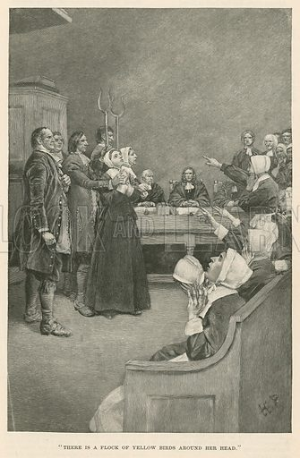 """""""There is a flock of yellow birds around her head"""". The Salem Witch Trials, Massachusetts, 1692–1693."""