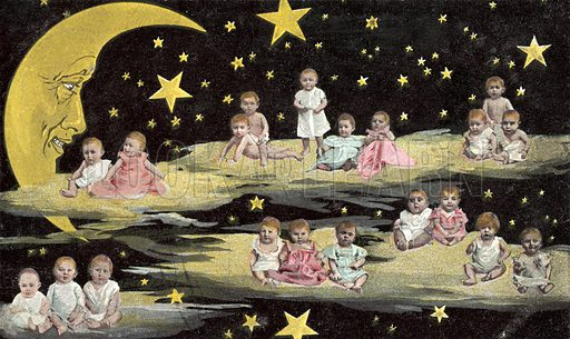 Babies sitting on clouds alongside Man In The Moon