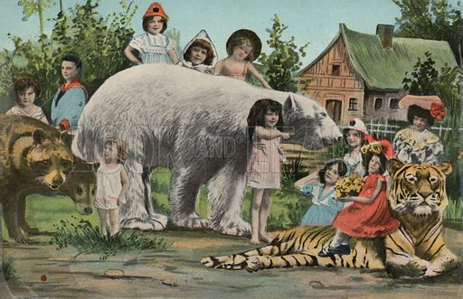 Surreal picture of children and animals
