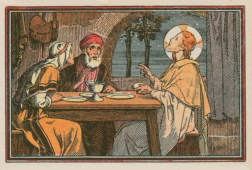 Scene from the life of Jesus.  One from a series, mostly signed JMB.