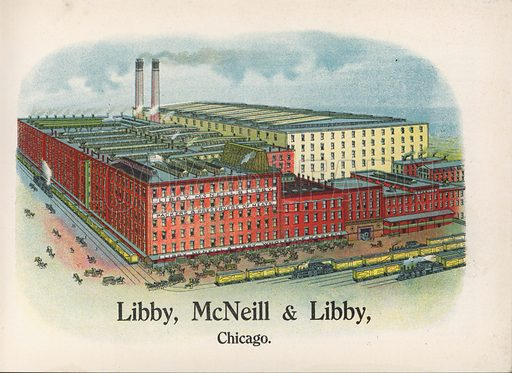 Libby's factory, Chicago.  Illustration for booklet about Libby's products, ie those of Libby, MacNeill & Libby, Chicago.  Early 20th century. Note: Only to be used for editorial use.