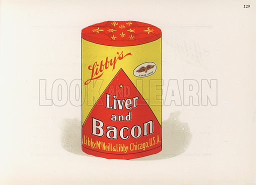 Illustration for booklet about Libby's products, ie those of Libby, MacNeill & Libby, Chicago.  Early 20th century. Note: Only to be used for editorial use.