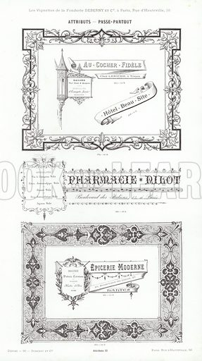Page from Vignettes Typographiques, Attributs, Melanges, Armes, Medailles (Fonderie Typographique Deberny et Cie, Paris, c 1880).