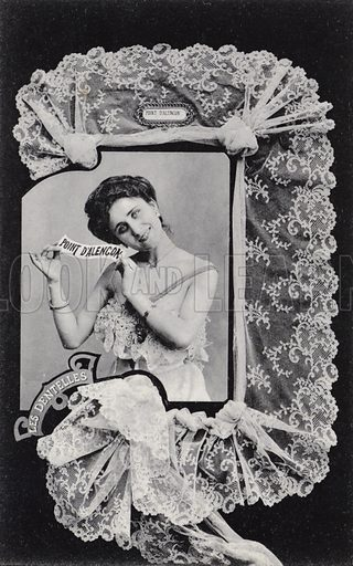 Portrait of woman in lace frame. French, very early 20th century.