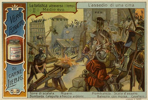 Attacking a city using siege engines in medieval times. Liebig card, late 19th or early 20th century, from a series on the development and use of projectile weapons throughout history.