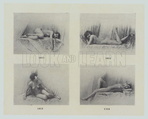 """Page from La Beaute, Album XXI, The most beautiful photographs of the most beautiful models (Paris Art Editions, c 1910). The title-page states: The collection of """"LABEAUTE"""" forms the most priceless documentation for painters, sculptors, and art students."""