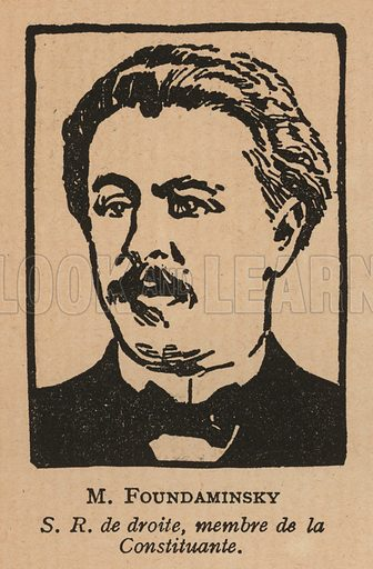 Ilya Fondaminsky (1880-1942), Russian writer and politician of the Socialist Revolutionary Party. Illustration from Histoire des Soviets (Paris, c1925).