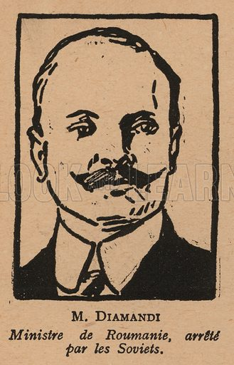 Constantin Diamandi (1868-1932), Romanian ambassador to Russia detained by the Soviet Council of People's Commissars. Illustration from Histoire des Soviets (Paris, c1925).