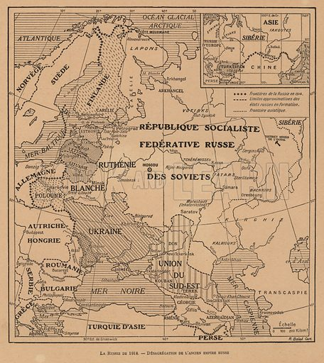 Map showing the break-up of the Russian Empire in 1918 following the October Revolution. Illustration from Histoire des Soviets (Paris, c1925).