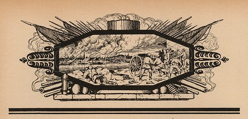 Artillery shelling a city from across a river, Russian Civil War, 1917-1922. Illustration from Histoire des Soviets (Paris, c1925).