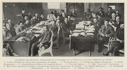 Meeting of senior members of the government of the Russian Soviet Federated Socialist Republic (RSFSR). Illustration from Histoire des Soviets (Paris, c1925).