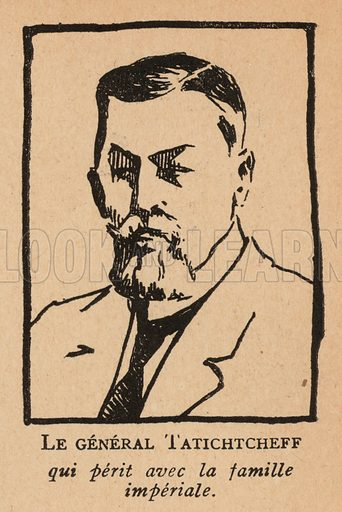 Count Ilya Tatischev (1859-1918), Russian general executed by the Cheka in Yekaterinburg on charges of trying to help Tsar Nicholas II escape the captivity of the Bolsheviks. Illustration from Histoire des Soviets (Paris, c1925).