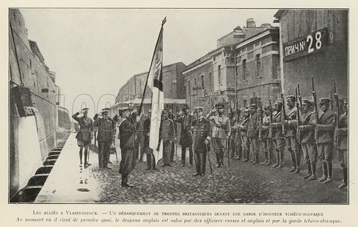 British troops disembarking at Vladivostok and greeted by a guard of honour of the Czechoslovak Legion, Russian Civil War, 1918. Illustration from Histoire des Soviets (Paris, c1925).