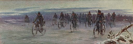 German bicycle troops in Finland, Finnish Civil War, 1918. Illustration from Histoire des Soviets (Paris, c1925).