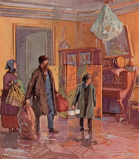 Working class Russian family taking possession of a bourgeois apartment after the Revolution. Illustration from Histoire des Soviets (Paris, c1925).