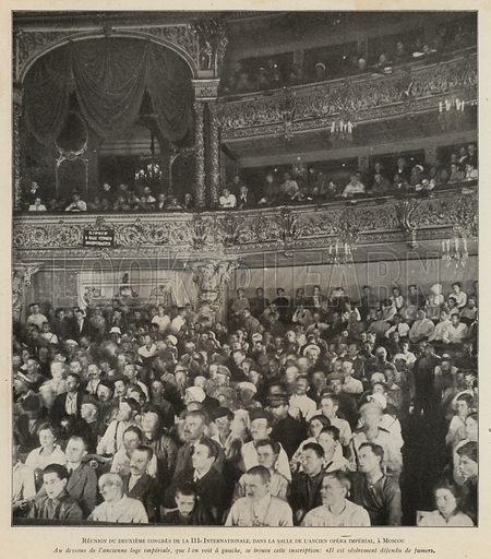Second Congress of the Third Communist International (Comintern), former Imperial Opera House, Moscow, 1920. Illustration from Histoire des Soviets (Paris, c1925).