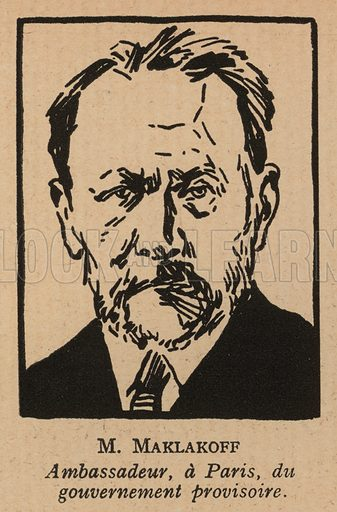 Vasily Maklakov (1869-1957), Russian lawyer and politician appointed Ambassador to France by the Russian Provisional Government just before the October Revolution. Illustration from Histoire des Soviets (Paris, c1925).