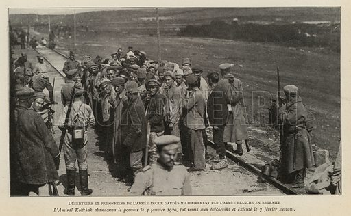 Red Army deserters and prisoners being guards by retreating White troops in Siberia, Russian Civil War, 1919. Illustration from Histoire des Soviets (Paris, c1925).