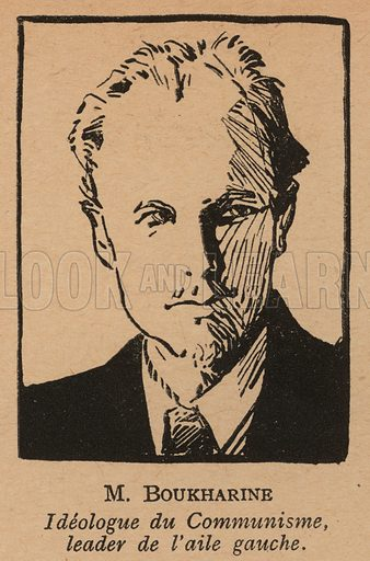 Nikolai Bukharin (1888-1938), Russian Bolshevik revolutionary theorist and politician. Illustration from Histoire des Soviets (Paris, c1925).