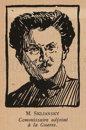 Efraim Sklyansky (1892-1925), Russian Bolshevik revolutionary and Leon Trotsky's deputy on the Revolutionary Military Council of the RSFSR. Illustration from Histoire des Soviets (Paris, c1925).